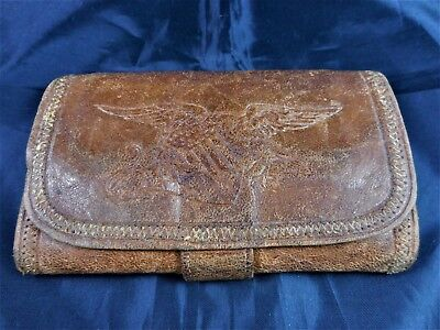 Antique Late 19th Century Leather Wallet With Eagle, Shield, & Lion Patriotic