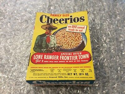 Cheerios The Lone Ranger Frontier Town Intact Cereal #7 Empty GM 1948 10.5 Ounce