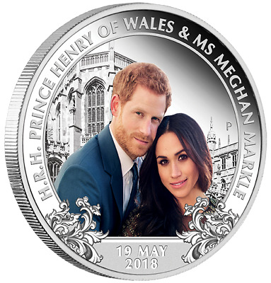 Royal Wedding 2018 1oz Silver Proof Coin Prince Henry Ms Meghan Markle