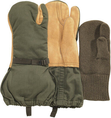 US Military Surplus Leather Gloves Trigger Finger Wool Mittens GI Cold Weather