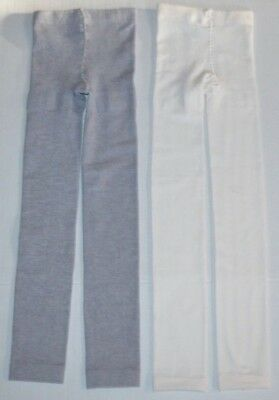 Lot 2 New Girls Ivory & Gray Thick Fleece lined Footless Stocking Tights L 12-14