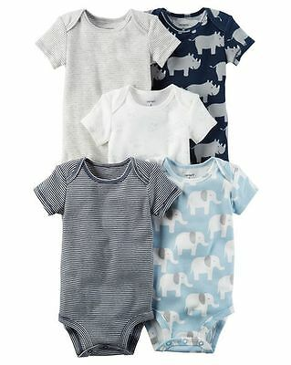 New Carter's 5 Pack Bodysuits Boys Elephant NWT Size NB 3 6 9m 12m 18m 24m