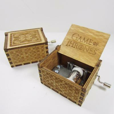 Game Of Thrones Engraved Wooden Music Box Antique Carved Hand Crank Darth Vader