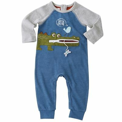 NWT Mud Pie Alligator Zipper Mouth Baby Boys One Piece Romper Jumpsuit Outfit