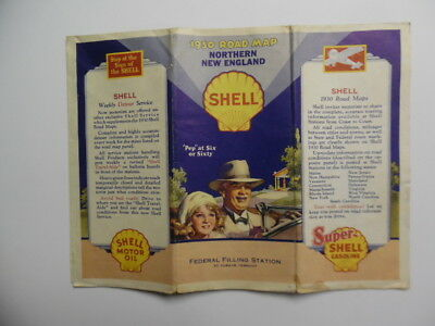 1930 Shell Road Map of North New England Gas Oil Advertising Vintage Original VG