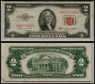 1953B $2 Dollar Bill Us Note Legal Tender Paper Money Currency  Lt=E312