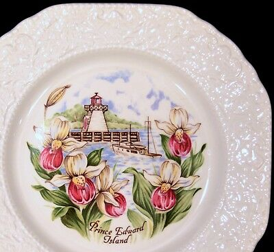 """BURLEIGH SQUARE """"PRINCE EDWARD ISLAND"""" PLATE - Lady Slippers and Lighthouse"""