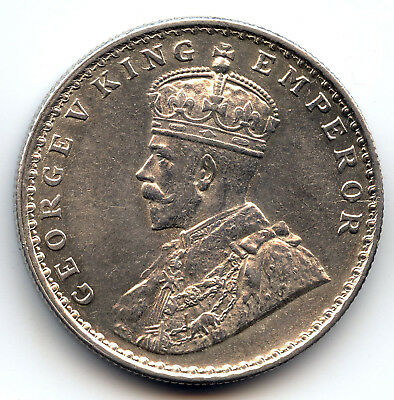 "1911 ""B"" British India George V King silver One Rupee coin Pig Elephant"
