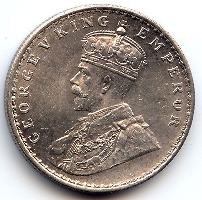 "1911 ""C"" British India George V King silver One Rupee coin Pig Elephant"