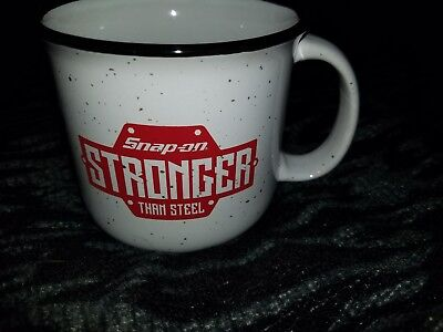 New Snap-On Off White Speckled  Heavy Duty Ceramic Coffee Mug / Cup