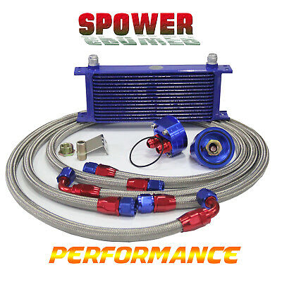15 Row AN10 Engine Oil Cooler+ 3/4*16&M20 Filter Relocation Adapter Kit Blue Red