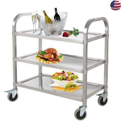 Stainless Steel 3 Tier Kitchen Bar Rolling Cart Party Serving Shelf  Restaurant