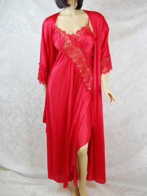 vtg Lady Cameo Long red nightgown peignoir robe nylon lace 2 piece set #455