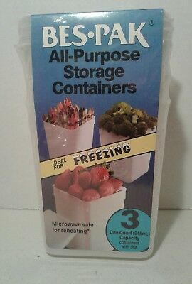 Bes Pak All Purpose Storage Containers 3~One Quart w/Lids Freezer to Microwave