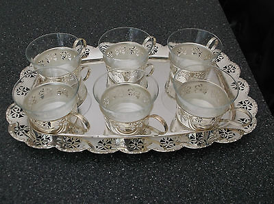 Vintage Bmf West Germany 6 Pc. Glass Cup And Tray Set