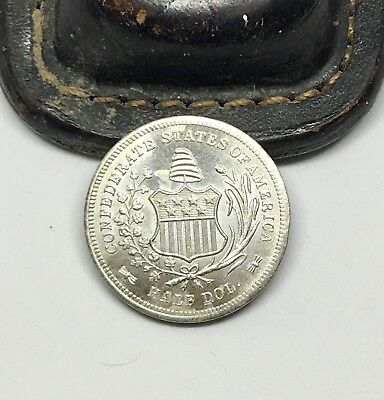 Confederate States Of America 50c Clad Sterling Silver Uniface Fantasy Coin FC04