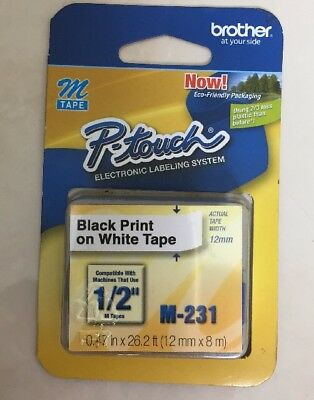 M231 1/2Inch Black on White Tape for Brother P-Touch Labeler