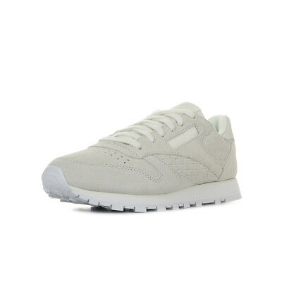 CHAUSSURES BASKETS REEBOK femme Classic Leather Woven Emb taille Gris Grise Cuir