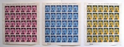 3 Full Sheets Ghana SG204-205-206 Abraham Lincoln 150th Birthday Stamps MNH 1959
