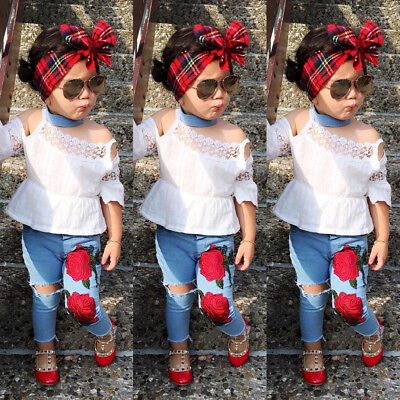 2Pcs Toddler Kids Girls Lace Tops Flower Jeans Denim Pants Outfits Clothing Set