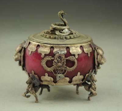 COLLECTIBLE CHINESE OLD JADE INLAID TIBETAN SILVER&SNAKE LID INCENSE BURNER a02