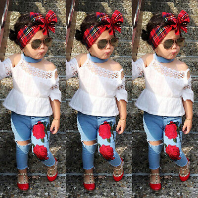 USA Casual Toddler Kids Girls Lace Tops Flower Denim Pants Jeans Outfits Set