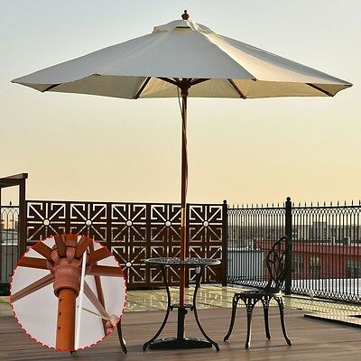 9ft Outdoor Patio Wooden Beach Umbrella Wood Pole Garden Yard Sun Shade Sunshade
