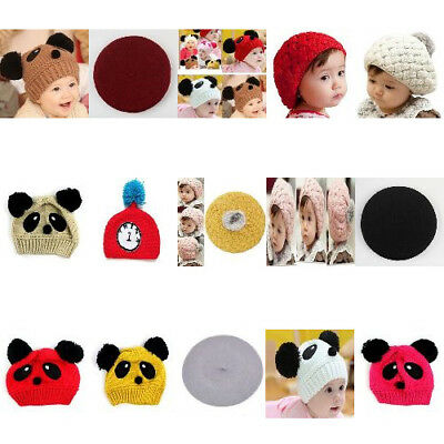 Winter Warm Cute Classic Panda Design Knitted Crochet Beanie Beret Hat For Baby