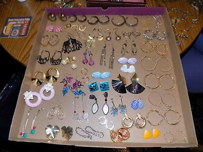 Lot of over 75 Pair Assorted Vintage Pierced Earrings