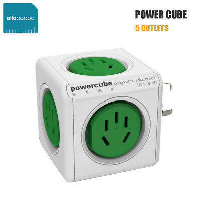 Allocacoc Compact PowerCube Desk Charger Green 2500W Power Board with 5 Outlets