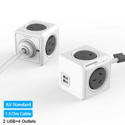 Allocacoc Grey 2500W 4 Outlets 2 USB Power Board Powercube 1.5M/3M Cable Mount