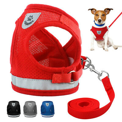 Reflective Small Dog Harness & Leash Soft Mesh Puppy Cat Harness Vest S M L XL