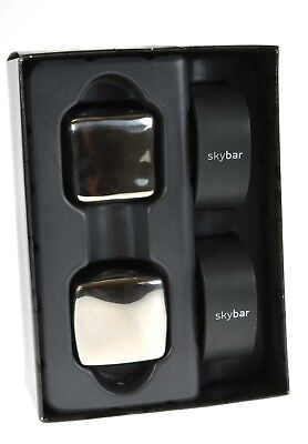 Skybar® Stylish Giant Stainless Steel Ice Cubes Twin Pack Chill Whisky Stones