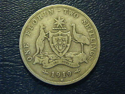 Australia Florin 1919 Silver  King George V  Nice Good fine Silver Coin 4 Pearls