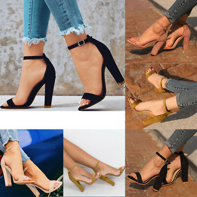 Women Lady Summer Block Suede High Heel Shoes Ankle Strap Open Toe Beach Sandals