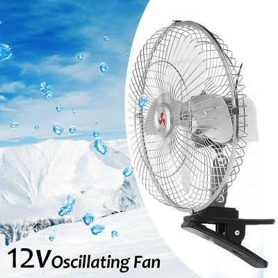 10'' 12V Car Electric Oscillating Fan With Clip 180° Cooling Cooler Desk Table