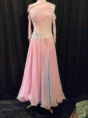 JeBling Ballroom Smooth Competition Costume Ladies US 8-12 Pink w Blue Swarovski