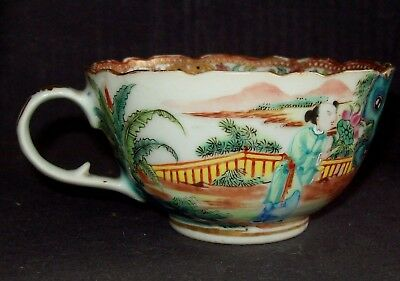 FINE CHINESE 19th C CANTON FAMILLE ROSE MANDARIN PORCELAIN TEA CUP BOWL VASE #3