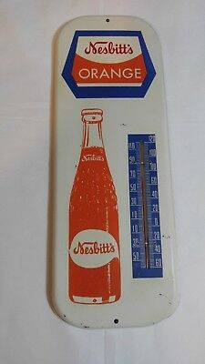 Original 1950's Nesbitts Soda Thermometer Orange Drink Sign Bottle Metal