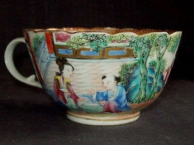 FINE CHINESE 19th C CANTON FAMILLE ROSE MANDARIN PORCELAIN TEA CUP BOWL VASE #4