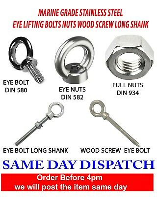 A4 Marine Grade Stainless Steel Lifting Eye Bolt Nut Long Shank M6 M8 M10