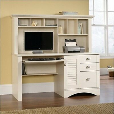 Computer Desk With Hutch White Home Office Den Wood Decor File Cabinet Furniture