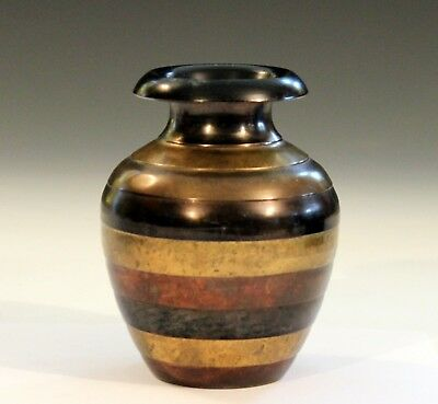 Vintage Bronze Indian Patinated Copper Variegated Old Zen Three Tone Raymor Vase