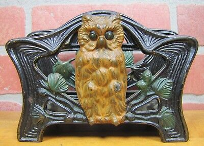 Antique OWL Letter Holder Rack Cast Iron Old Multi Color Painted Finish Judd Co