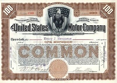 The United States Motor Company of New York 1911 Stock Certificate