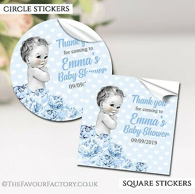 Vintage Boy Personalised Baby Shower Party Favours stickers labels GLOSSY