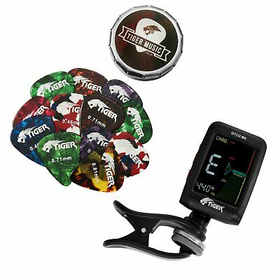 Tiger Guitar Tuner and Guitar Pick Bundle