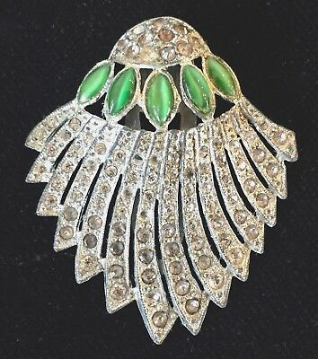 Vintage Art Deco 1930's era Clear & Green Rhinestone Jewelry Clip Pin