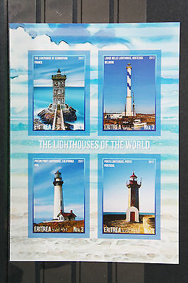 Leuchttürme 3 lighthouses USA France Belgium Portugal Block geschnitten ** MNH