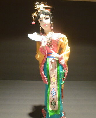 """Beautiful Oriental Doll,Chinese Old Style Doll Geisha Woman with Fan 16"""" tall"""